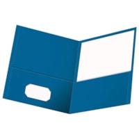 Oxford Embossed Twin Pocket Folder, Light Blue, Letter Size