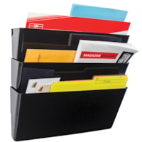 Storex Unbreakable Snap And Stack Wall File Pocket, Black, Legal Size, 3/PK