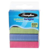 Swingline Colour Bright Standard Staples, Assorted Colours, 2,000 Staples/BX