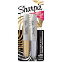 Marqueurs permanents de couleurs métalliques Sharpie, or et argent, pointe biseautée, emb. de 2