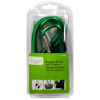 logix Bungee Strap with Carabiner, Green/Black