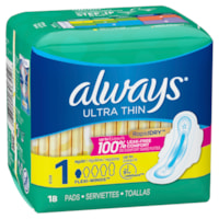 Always Ultra Thin Size 1 Regular Pads With Wings, Unscented, 18/PK