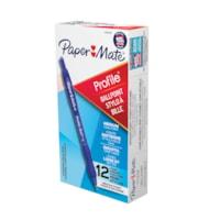 Stylos à encre gel à pointe rétractable Profile Paper Mate, bleu, pointe moyenne de 1,0 mm, emb. de 12