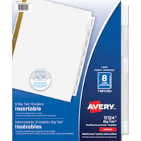 Avery Big Tab Insertable Dividers, White, 8 1/2