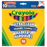 Marqueurs lavables Ultra-Clean Crayola, couleurs vives variées, pointe large, emb. de 10