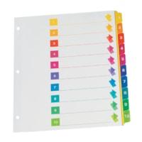 Intercalaires à onglets Grand & Toy, numérotés de 1 à 10, 8 1/2 po x 11 po, jeux de 10 onglets, boîte de 15 jeux