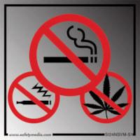 Safety Media No Smoking, No Vaping and No Marijuana Plastic Sign, Silver Aluminum, 4
