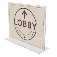 Deflecto Anti-Glare Acrylic Double-Sided Landscape Sign Holder