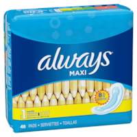 Always Moderate Protection Maxi Pads, Without Wings, 48/PK