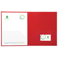 Grand & Toy Twin-Pocket Portfolios, Red with Clear Pockets, Letter Size, 5/PK