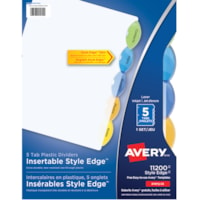 Avery Style Edge Insertable Plastic Dividers, Clear with Translucent Coloured Tabs, Letter-Size, 5-Tabs/ST, 1-Set/PK