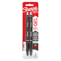Sharpie S-Gel Retractable Pens, Black, Fine 0.5 mm, 2/PK