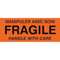 Étiquettes d'emballage préimprimées Manipuler avec soin/Handle with care de 2 po x 5 po