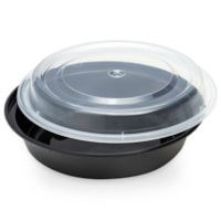 Café Express Round Take Out Containers, Black with Clear Lids, 425 mL Capacity, 150/CT