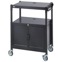 Safco Adjustable Steel AV Cart With Cabinet, Black
