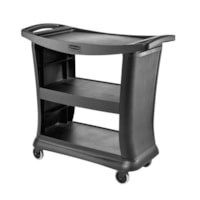 Rubbermaid Commercial Executive 3-Shelf Service Cart, Black, 300 lb Load Capacity