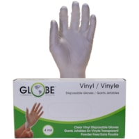 Globe Commercial Products Vinyl Gloves, 4 mil, Large, Clear, 100/BX