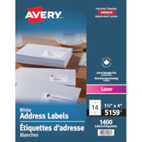 Étiquettes d'adresse blanches 1 1/2 po x 4 po Avery