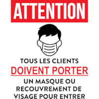Autocollants « Masque obligatoire » pour fenêtre Onyx + Blue, français, rouge et noir sur fond blanc, 12 po x 15 po, emb. de 6