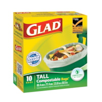 Glad Biodegradable Tall Easy-Tie Kitchen Compostable Bags