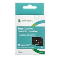 Grand & Toy Sign TZe Black Type On White Label Tape Cassette, 18 mm (3/4