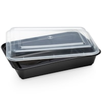 Café Express Rectangular Take Out Containers, Black with Clear Lids, 800 mL Capacity, 150/CT