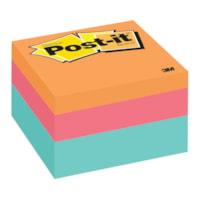 Feuillets de couleurs variées Post-it, vague aqua, 3 po x 3 po, cube de 400 feuillets, emb. de 1