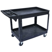 Globe Commercial Products Heavy-Duty Lipped Shelf Utility Cart, Black, 550 lb Capacity