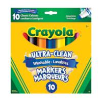Marqueurs lavables Ultra-Clean Crayola, couleurs classiques variées, pointe large, emb. de 10