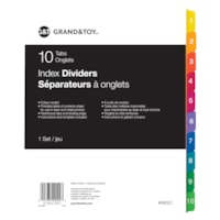 Grand & Toy Index Dividers, Numbered 1-10, 8 1/2