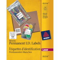 Avery 5214 Permanent ID Laser Labels, White, 1 1/2