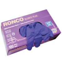 Ronco BluRite Plus Examination Nitrile Powder-Free Disposable Gloves, Dark Blue, Small, 100/BX