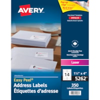 Étiquettes d'adresse blanches Easy Peel 1 1/3 po x 4 po Avery