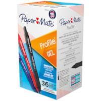 Stylos à encre gel à pointe rétractable Profile Paper Mate, couleurs variées, pointe moyenne de 0,7 mm, emb. de 36