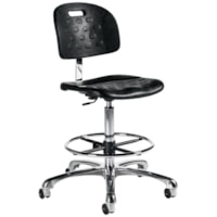 Global Minotaur Industrial ESD Task Stool, Black with Chrome Base