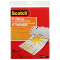 Scotch Thermal Laminating Pouches, Clear, 3 Mil, Letter Size, 20/PK