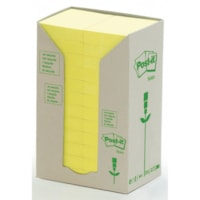 Post-it 100% Recycled Note Tower Packs, Canary Yellow, 1 1/2