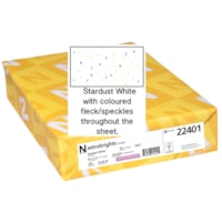 Papier couverture Astrobrights Neenah, couleur Blanc Stardust, format lettre, certifié FSC et Green Seal, 65 lb, rame