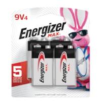 Energizer Max 9V Alkaline Batteries, 4/PK (522BP4)