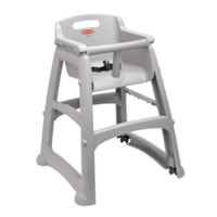 Rubbermaid Commercial Sturdy High Chair With Wheels, Platinum, 23 3/8