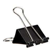 Pince-notes robustes repliables Grand & Toy, noir, grand format (1 5/8 po de largeur), capacité de 3/4 po, boîte de 12