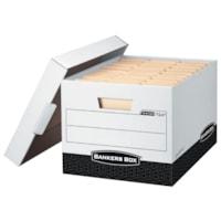 Bankers Box FastFold R-Kive Heavy-Duty Storage Boxes, White/Black, Letter/Legal Size, 12/CT