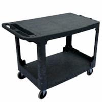 Globe Commercial Products Heavy-Duty Flat Shelf Utility Cart, Black, 550 lb Capacity