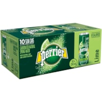 Perrier Sparkling Water, Lime Flavour, Slim Cans, 250 mL, 10/PK