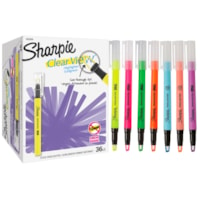 Sharpie Clear View Stick Highlighters, Assorted Fluorescent Colours, Chisel Tip, 36/PK