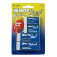 Dixon White Pearl Vinyl Block Erasers, 4/PK