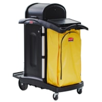 Rubbermaid Commercial High-Security Janitorial Cleaning Cart With Doors And Hood, Black