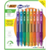 Stylos à encre gel à pointe rétractable Gel-ocity BIC, couleurs à la mode, pointe moyenne de 0,7 mm, emb. de 8