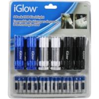 Lampes de poche à technologie COB iGlow, bleu/argent/noir, emb. de 6