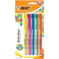 BIC Brite Liner Highlighters, Assorted Colours, Chisel Tip, 5/PK